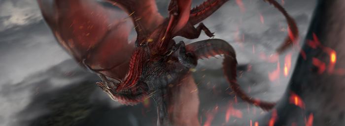 Битва над Божьим Оком ПЛИО, Игра престолов, Арт, Дракон