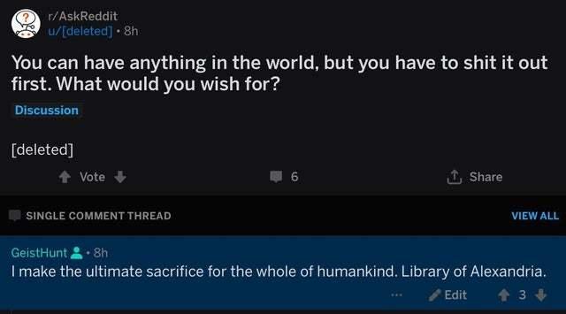 Жертва во имя человечества Юмор, Скриншот, Комментарии, Reddit