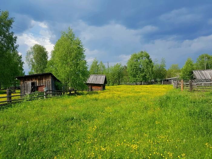 Деревня Деревня, Природа, Пермский край, Закат, Перед грозой, Лето, Длиннопост