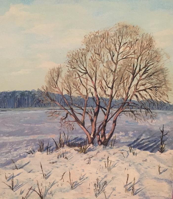 Дерево на Волге зимой