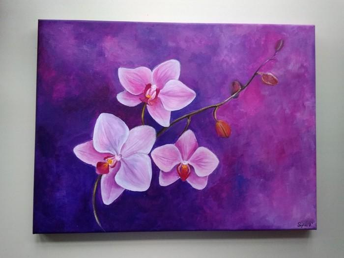 Орхидеи. Холст, акрил Орхидеи, Цветы, Творчество, Живопись, Картина, Акрил