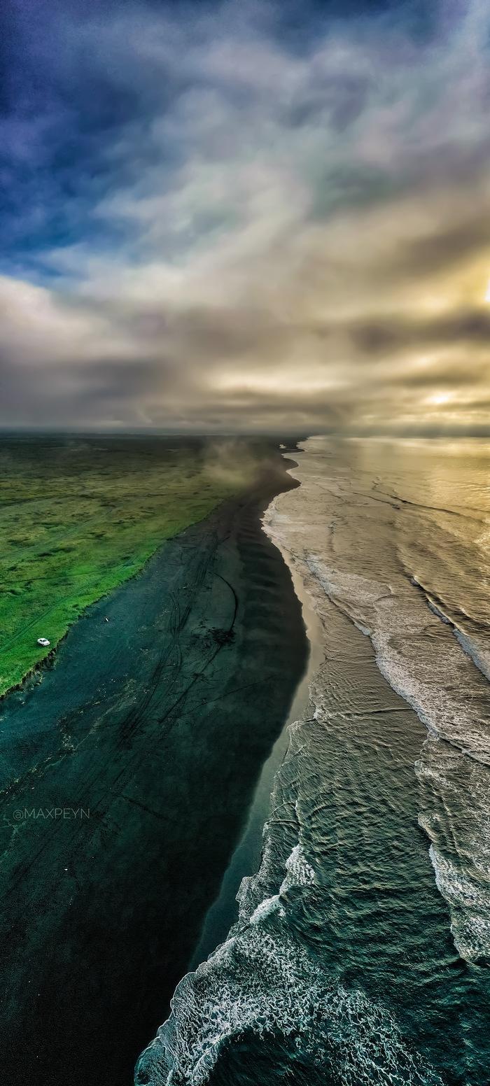 Пляж Камчатка, Океан, Петропавловск-Камчатский, DJI, DJI Mavic 2 PRO, Природа, Прибой, Длиннопост, Фотография