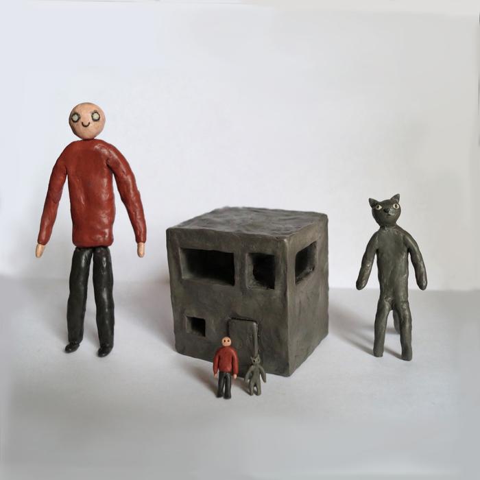 Человек и кот сделали дом Человек, Кот, Дом, Пластилин