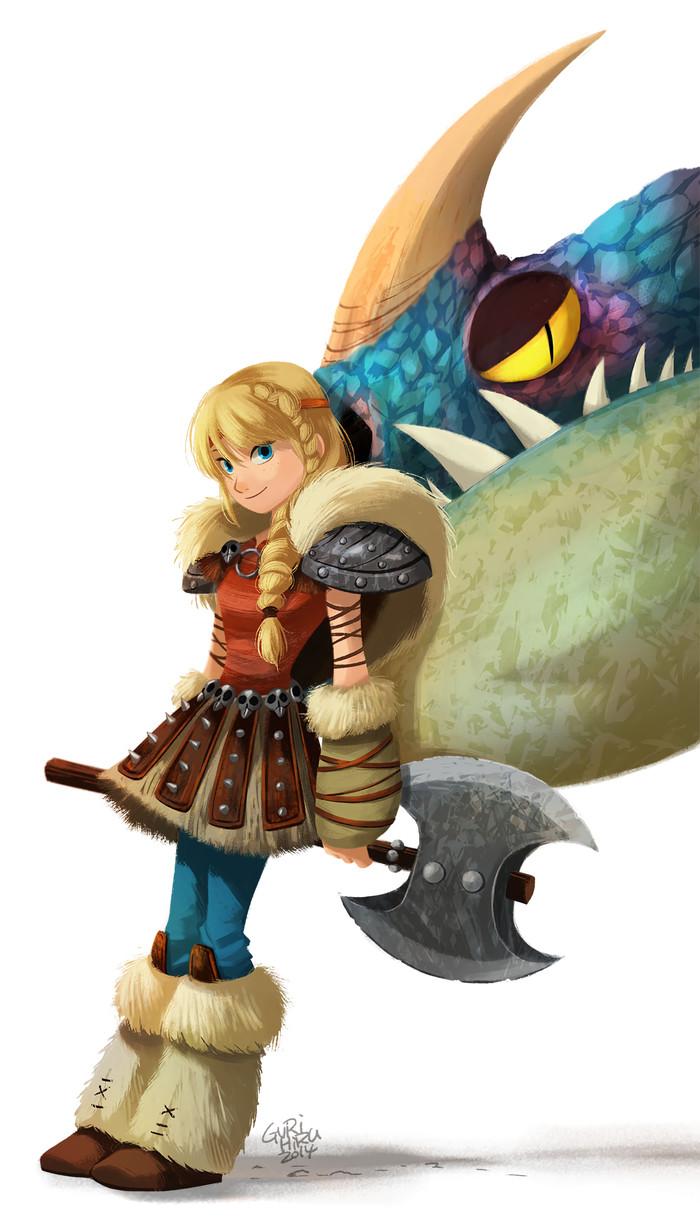 Astrid & Deadly Nadder Арт, Рисунок, Мультфильмы, Как приручить дракона, Астрид, Громгильда, Gurihiru