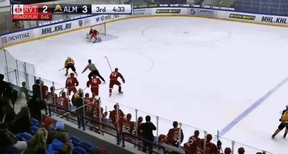 Крутой гол из молодежной хоккейной лиги Спорт, Хоккей, Мхл, Гифка