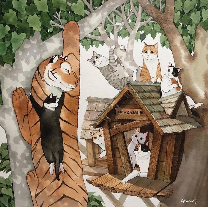 Тигроснежка и семь котиков Кот, Тигр, Длиннопост