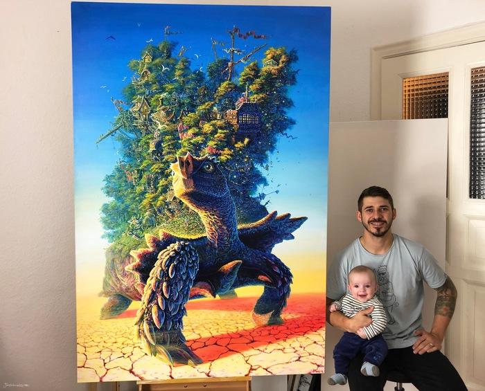 Год назад я закончил эту 70 дюймовую картину черепахи с домом на дереве, а неделю назад я получил ключи от моей собственной Арт студии