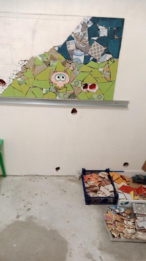 Мозаика из битой плитки Мозаика, Ремонт, Длиннопост, Рукоделие с процессом, Керамическая плитка