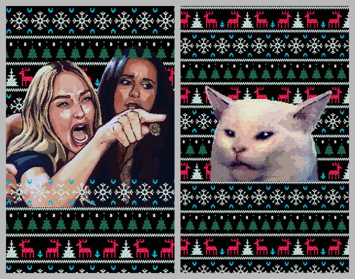 Лучшие парные свитера? Свитер, Мемы, Длиннопост, Две женщины орут на кота