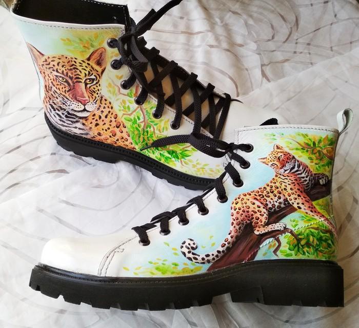 Ботинки с ручной росписью Творчество, Ботинки, Custom, Леопард, Ручная работа, Рукоделие без процесса, Длиннопост