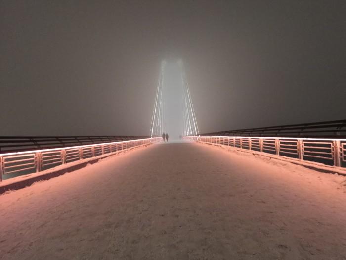 Вантовый мост при тумане похож на врата