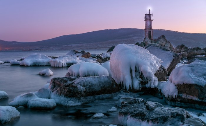 Маяк Маяк, Зима, Начинающий фотограф, Море, Находка, Приморский край, Лед