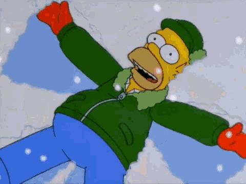 Симпсоны на каждый день [23_Декабря] Симпсоны, Каждый день, Снежный ангел, Снег, Гифка