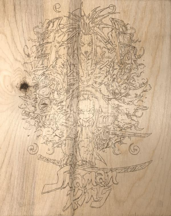 Шаман Кинг в огне Shaman King, Выжигание, Пирография, Amidamaru, Yoh Asakura, Гифка, Длиннопост, Аниме