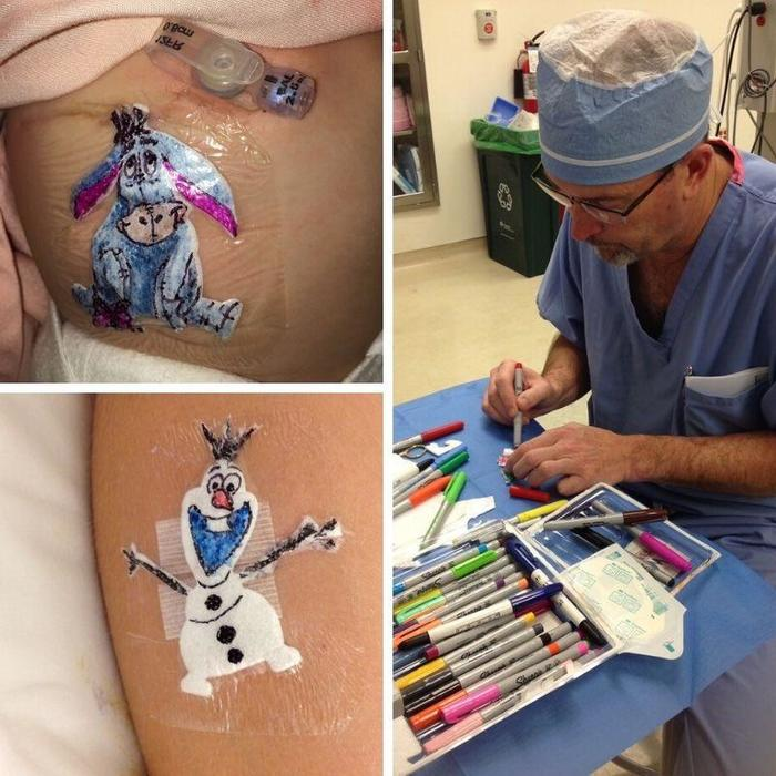 Детский хирург Роберт Перри оставляет рисунок детям, которых он прооперировал, чтобы шрам не остался их последним воспоминанием операции