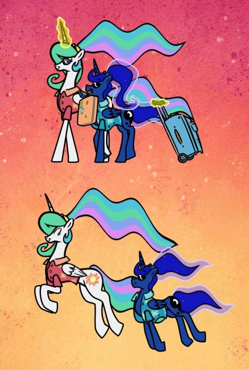 Сестрёнки My Little Pony, Princess Celestia, Princess Luna, Гифка