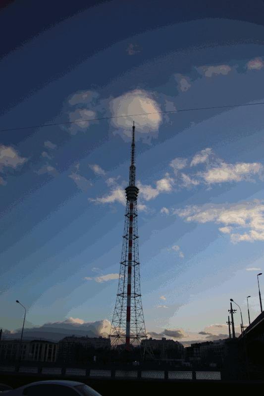 Санкт-петербургская телебашня и большой зум Телевышка, Санкт-Петербург, Гифка, Длиннопост