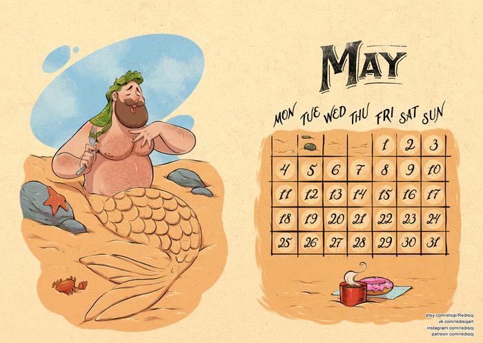 Тёплый календарь 2020 Май