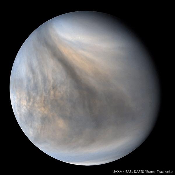 Венера в ультрафиолетовом диапазоне Космос, Венера, Ультрафиолет, Вселенная, Акацуки, Солнечная система, НЛО, Гифка