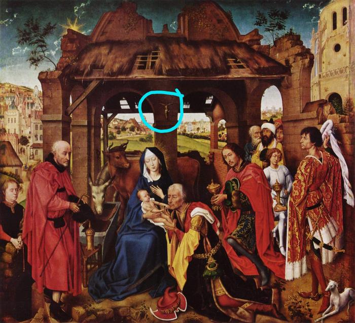 Художник Рогир ван дер Вейден, оказывается, любил спойлеры Волхвы, Картина, Живопись, Иисус Христос, Спойлер, Распятие
