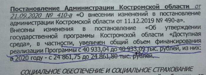На днях в Костромской области поддержали инвалидов