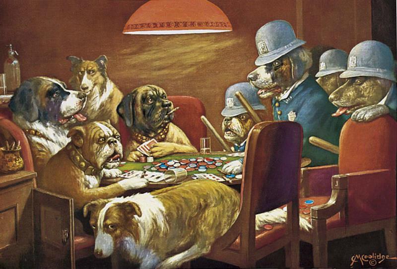 играют в карты за собаки столом картина