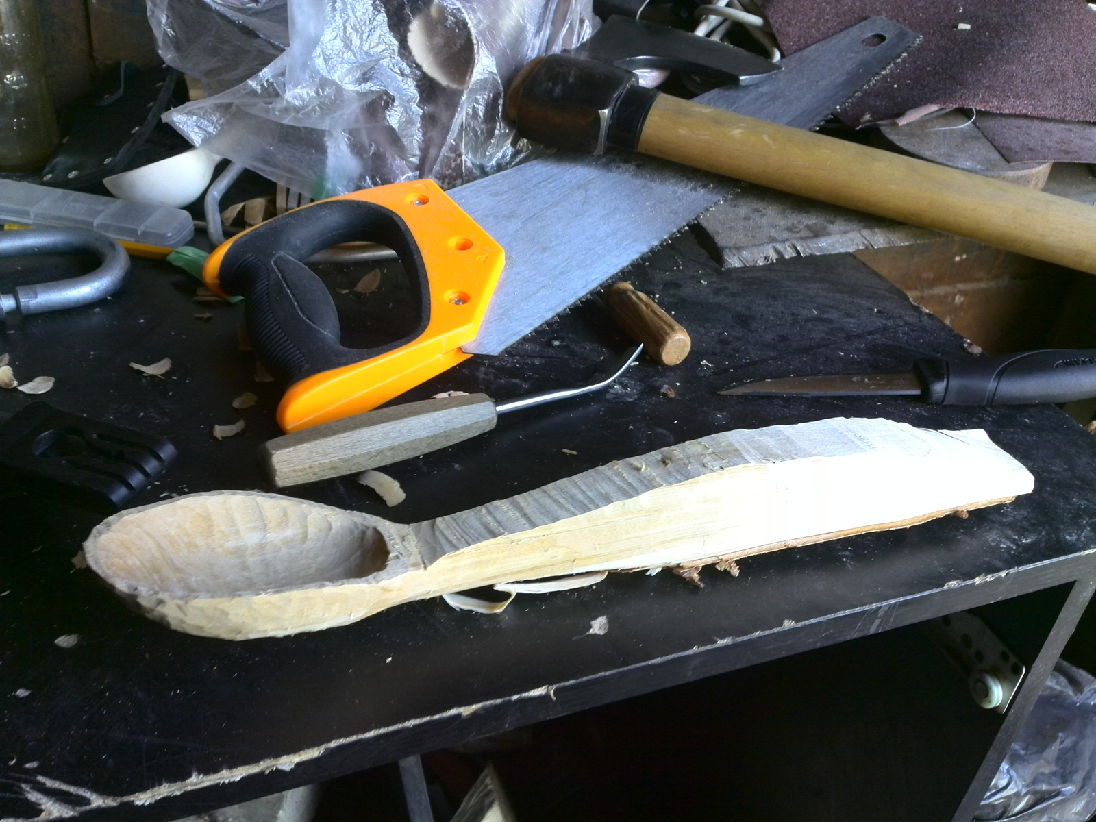 How to cut a spoon from a birch scoop, hand, knife, will, handle, better, thickness, begin, spoon, work, spoon, you can, right, future, approximately, take off, tool, middle, spoon, Start