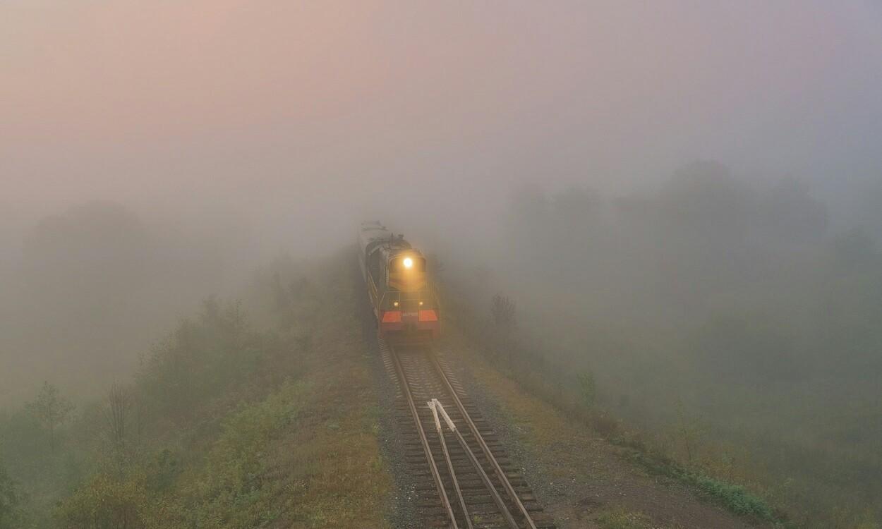 Обои железная дорога, туман, мост. Разное foto 18