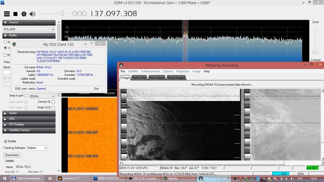 Прием фотоснимков с метеорологических спутников NOAA (15, 18