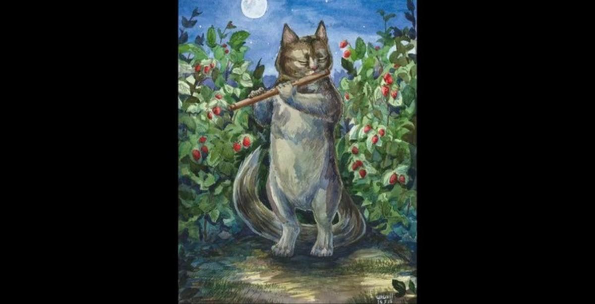 Кот с флейтой картинки